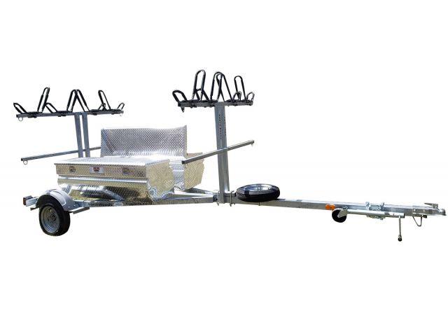 4 Canoe / 8 Kayak  SUP, Bike, Gear GALVANIZED TRAILER